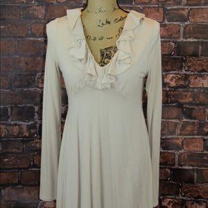 Stetson cream ruffle neckline dress